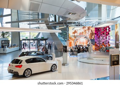 MUNICH, GERMANY - JULY 1, 2015: Interior at the BMW Welt, a customer experience and exhibition facility of the BMW AG, Munich, Germany