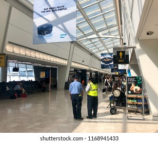 MUNICH, GERMANY - July 14, 2018: Bright hallway at the modern building of international airport in Munich, Germany.