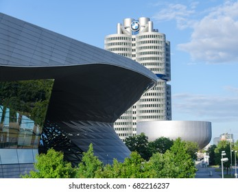 Munich, Germany - July 15, 2017: New BMW Headquarters modern building four-cylinder tower with museum and exhibition center