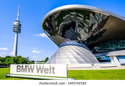 Munich, Germany - July, 16: famous BMW Welt facade in Munich on July 16,2019