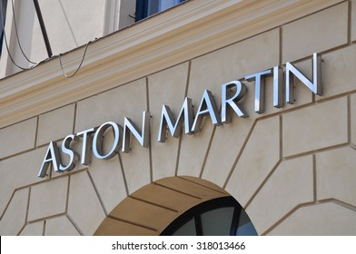 Munich, Germany - July 18, 2014: Sign of the British sportscar manufacturer Aston Martin at the Munich showroom - Munich, Bavaria, Germany.