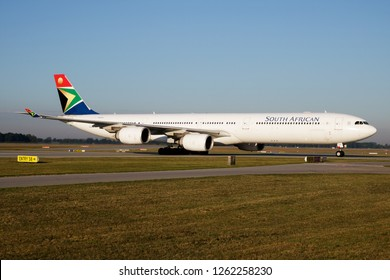 MUNICH / GERMANY - JULY 18, 2017: South African Airways Airbus A340-600 ZS-SNA passenger plane taxiing Munich Airport