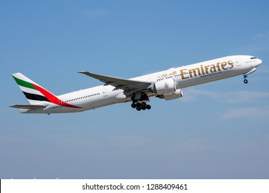 MUNICH / GERMANY - JULY 18, 2017: Emirates airlines Boeing 777-300ER A6-ECJ passenger plane departure at Munich Airport