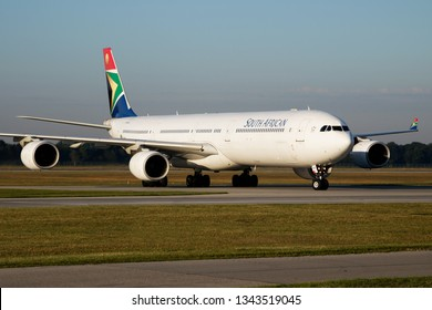 MUNICH / GERMANY - JULY 18, 2017: South African Airways Airbus A340-600 ZS-SNA passenger plane taxiing at Munich Airport