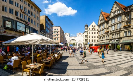 Munich, Germany - July 26: famous neuhauser street (shopping street) in the downtown of munich on july 26, 2018