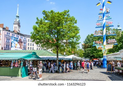 Munich, Germany - july 26: View of Viktualienmarkt a sunny day. It is a daily food market and a square in the center of Munich near Marienplatz on july 26, 2018