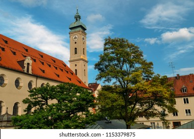 Munich, Germany - July 28, 2018: St Peter's Church gothic cathedral, symbol of city, Munich, Bavaria.
