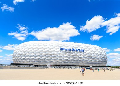 MUNICH, GERMANY - JULY 30, 2015: the football stadium Allianz Arena on Jul 30, 2015 in Munich, Germany. It designed by Herzog & de Meuron and ArupSport.