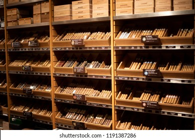 Munich, Germany - Jun 4, 2018 : Assortment of Cuban, Dominican cigars and imported cigars on display,They sell genuine cigars like Cohiba, Montecristo and Romeo.Luxury Cigars Shop in Munich, Germany
