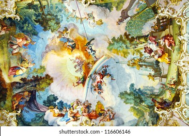 MUNICH, GERMANY - JUNE 07:  The fresco in Rococo style decorating interior of the Nymphenburg Palace. This palace was the main summer residence of the rulers of Bavaria.  June 07, 2012 Munich, Germany