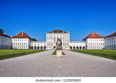 Munich, Germany - June 09, 2018: Schloss Nymphenburg, a Baroque palace in Munich, Bavaria.