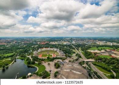 Munich, Germany - June 09, 2018: View to olympic village and olympic park in Munich, Germany