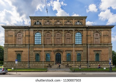 Munich, Germany June 09, 2018: Building of Alte Pinakothek (Art Museum), Old Master paintings museum in Kunstareal, Munich.