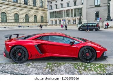 Munich, Germany June 09, 2018: Lamborghini aventador lp 750-4 superveloce car in Max-Joseph-Platz, Munich.