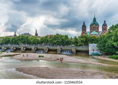 Munich, Germany June 09, 2018: St. Luke Church near Isar river and Wehrsteg, Munich, Germany