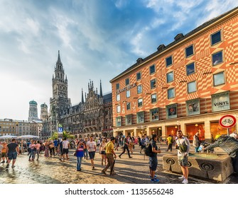 Munich, Germany June 09, 2018: New Town Hall at Marienplatz Square in Munich, Bavaria, Germany
