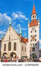 Munich, Germany June 09, 2018: Old Town Hall (Altes Rathaus) building at Marienplatz in Munich
