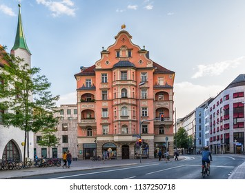 Munich, Germany June 09, 2018: The ORAG-Haus is an administrative building and commercial building in the Angling District of Munich's Old Town.