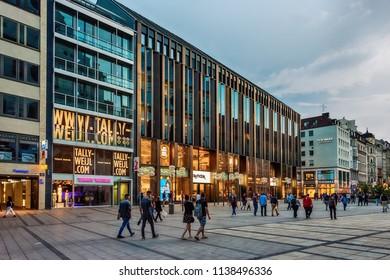 Munich, Germany June 09, 2018: Neuhauser street (Neuhauser Straße) view in downtown of Munich.