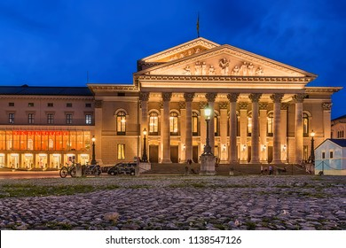 Munich, Germany June 09, 2018: The historic national theater in Munich, Germany, at night