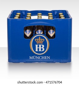 Munich, Germany - June 10, 2016: Plastic crate box case of traditional classic German beer from Bavarian brewery HB Munich.