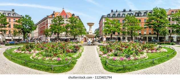 munich, germany - june 11: famous old buildings at the gaertnerplatz in munich, germany on june 11, 2018