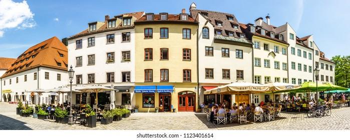 munich, germany - june 11: old buildings at the famous sebastiansplatz near the viktualienmarkt in munich, germany on june 11, 2018
