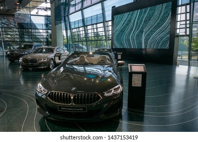 MUNICH, GERMANY - JUNE 14, 2019: BMW World (BMW Welt), a multi-functional customer experience and exhibition facility of the BMW AG. illustrative editorial