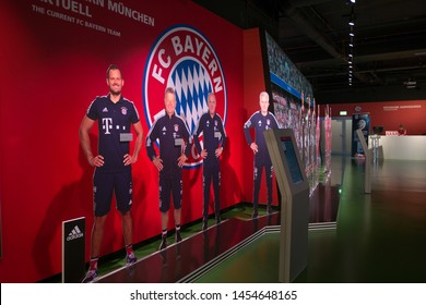 Munich, Germany - June 16, 2018 : Inside FC Bayern Erlebniswelt, Germany's biggest club museum. FC Bayern Allianz Arena.
