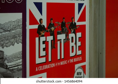 """Munich, Germany - June 17, 2018 : A poster advertising of  """"A CELEBRATION of the MUSIC of THE BEATLES"""". The Beatles were an English rock band."""