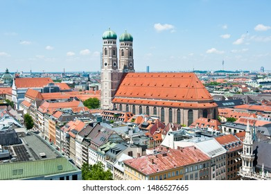 MUNICH, GERMANY - JUNE 18, 2019: The Frauenkirche (Dom zu Unserer Lieben Frau, Cathedral of Our Dear Lady) and cityscape of Munich. Sunny summer day. Aerial view