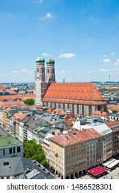 MUNICH, GERMANY - JUNE 18, 2019: The Frauenkirche (Dom zu Unserer Lieben Frau, Cathedral of Our Dear Lady). Sunny summer day. View from above