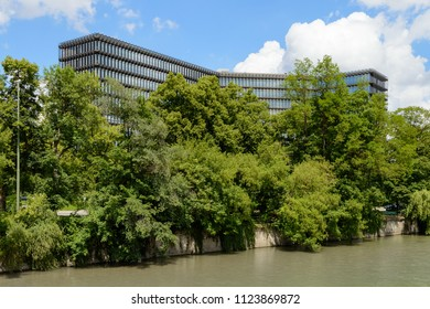 Munich, Germany - June 2, 2018: Modern building of European Patent Office EPO headquarters on Isar river in Munich