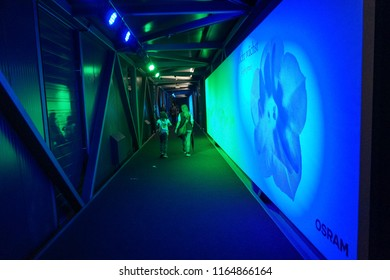 MUNICH, GERMANY - JUNE, 2018: 360 Virtual Reality Experience in German Museum (Das Deutsche museum), the world's largest museum of science and technology, in Munich, Bavaria, Germany, Europe