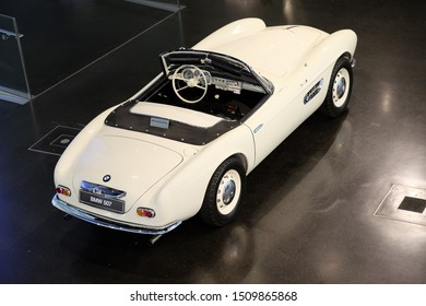 MUNICH, GERMANY - June 2018: BMW Welt museum. Back view of model BMW 507, year 1956.