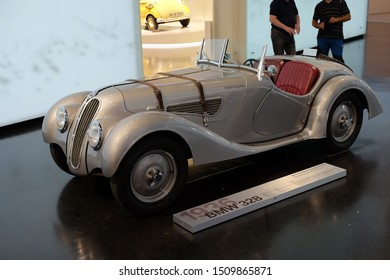 MUNICH, GERMANY - June 2018: BMW Welt museum. Side view of model BMW 328, year 1936.