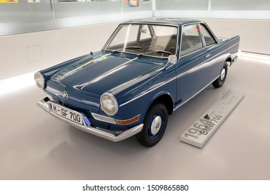 MUNICH, GERMANY - June 2018: BMW Welt museum. Front view of model BMW 700, year 1964.