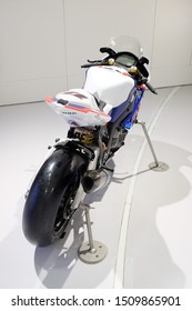 MUNICH, GERMANY - June 2018: BMW Welt museum. Back view of a white BMW RR S1000.