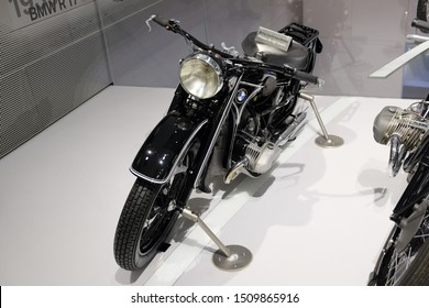 MUNICH, GERMANY - June 2018: BMW Welt museum. Front view of a black BMW R17, year 1933.