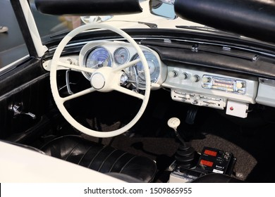 MUNICH, GERMANY - June 2018: BMW Welt museum. Cockpit of the BMW 507, year 1956.