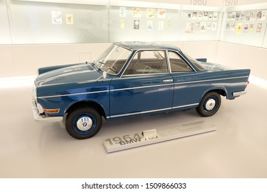 MUNICH, GERMANY - June 2018: BMW Welt museum. Side view of a blue BMW 700, year 1964.