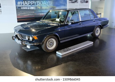 MUNICH, GERMANY - June 2018: BMW Welt museum. Side view of a black BMW 3 3, year 1968.