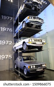MUNICH, GERMANY - June 2018: BMW Welt museum. Pile of old BMW from 1975 to 1977.