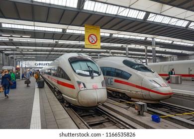 Munich, Germany - June 2018: Munich Hauptbahnhof (Central Station) in Munich, Germany in a beautiful summer day