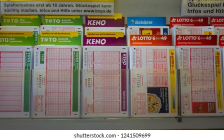Munich, Germany - June 21, 2018 : Rows of German Lotto tickets. German Lotto draws prize on Wednesday and Saturday.