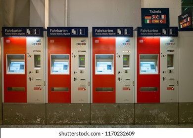 Munich, Germany - June 21,2018 : Train ticket vending machines at Munich main train station or Munich Hauptbahnhof, served by both national and international trains, like the high speed