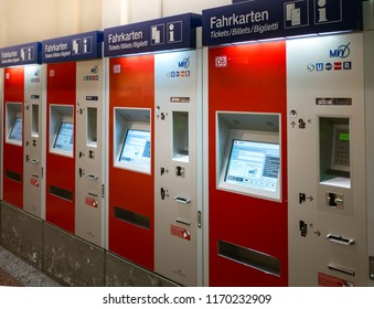Munich, Germany - June 21,2018 : Train ticket vending machines at Munich main train station or Munich Hauptbahnhof, served by both national and international trains.