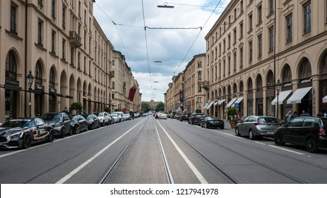 Munich, Germany : June 22, 2018 : View of Maximilian Street, the most luxury shopping street in Germany including fashionable famous brand, jewelry and watch stores.