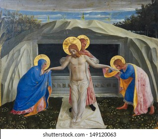 MUNICH, GERMANY - JUNE 22: Jesus Christ rising from the grave. Famous painting created by Fra Angelico (1387-1455) in Munich, Germany on June 22, 2013.