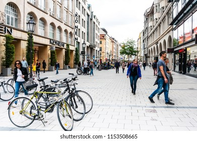 MUNICH, GERMANY- June 25, 2018: Street view of Tourists on foot Street in Downtown Munich, Germany.